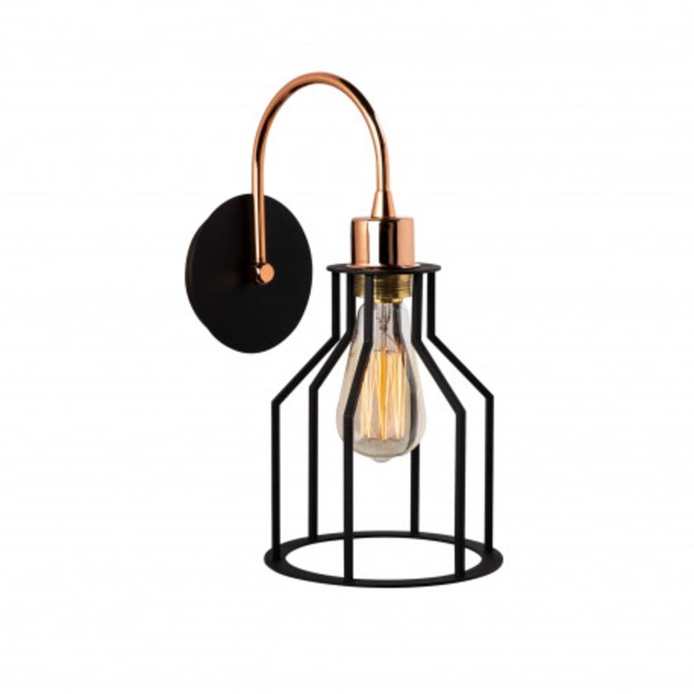Wandlamp zwart 1 x E27 fitting modern - zijkant lamp aan