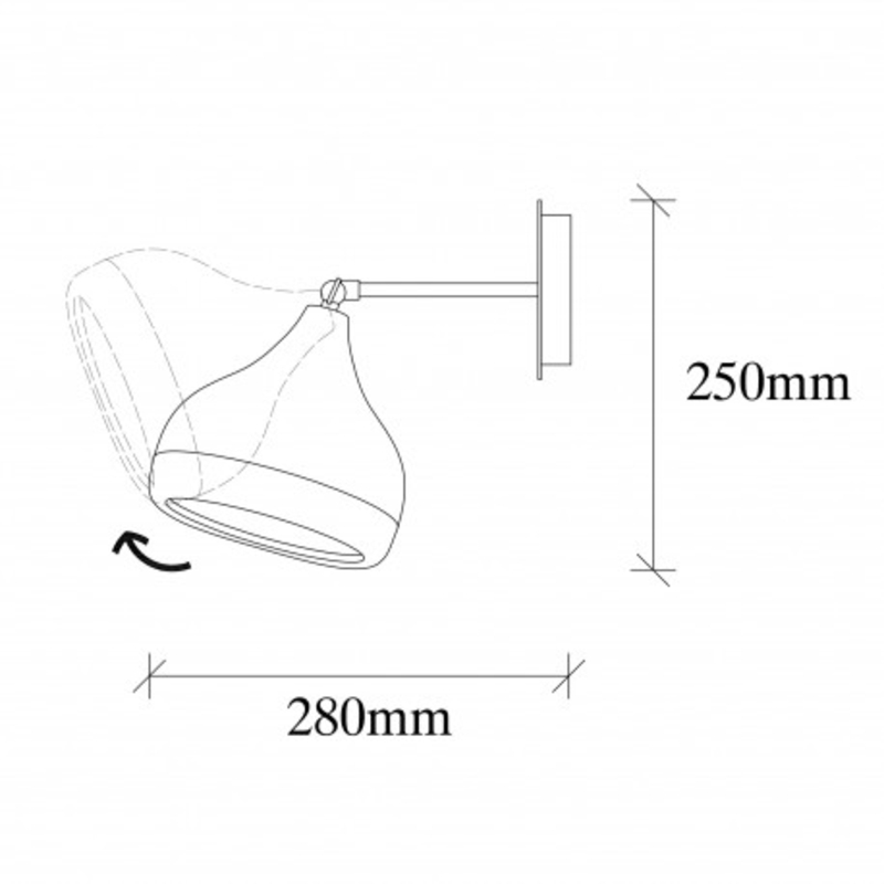 Moderne wandlamp zwart met brons 17 cm afmetingen