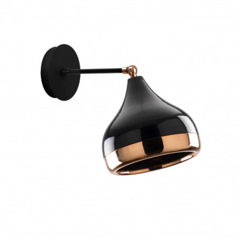 Moderne wandlamp zwart met brons 17 cm
