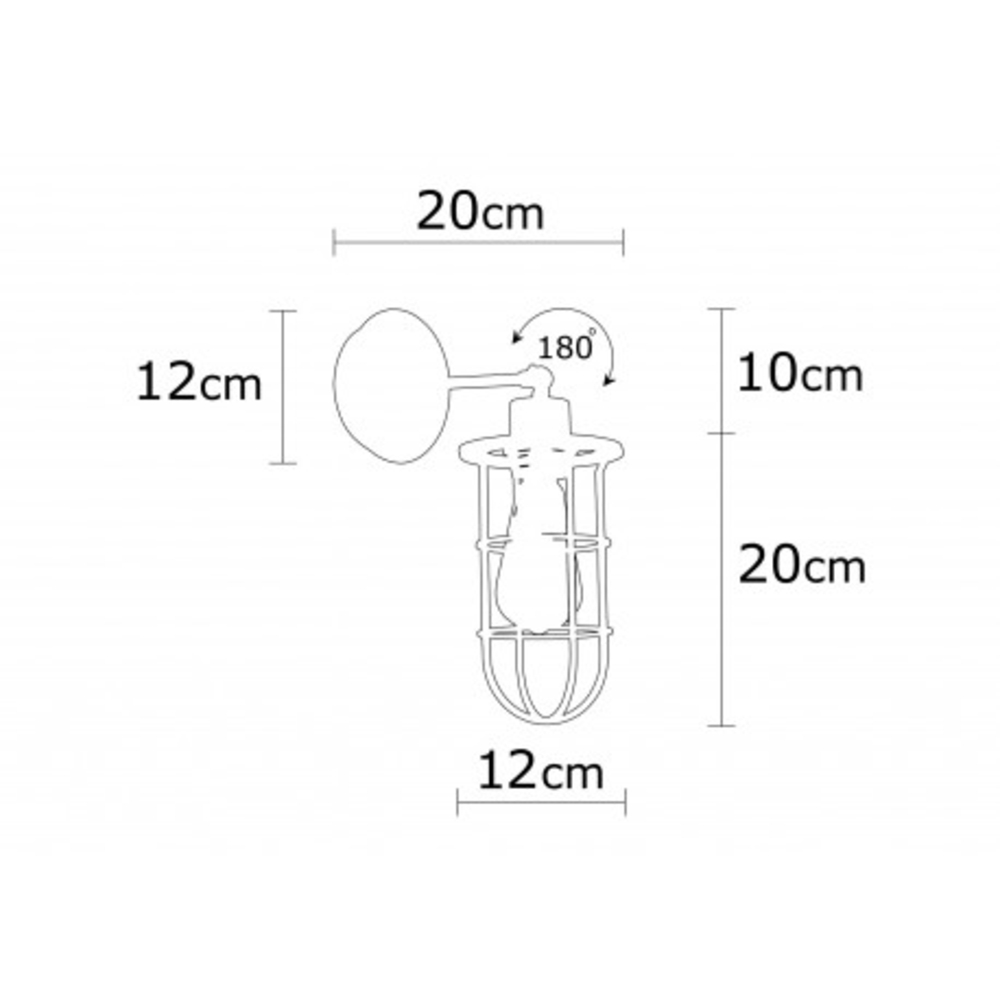 Wandlamp zwart modern 1 x een E27 fitting - afmetingen
