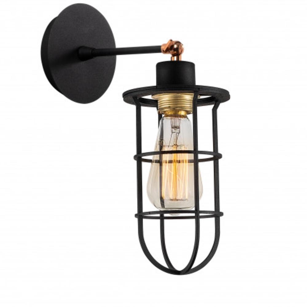 Wandlamp zwart modern 1 x een E27 fitting - lamp aan