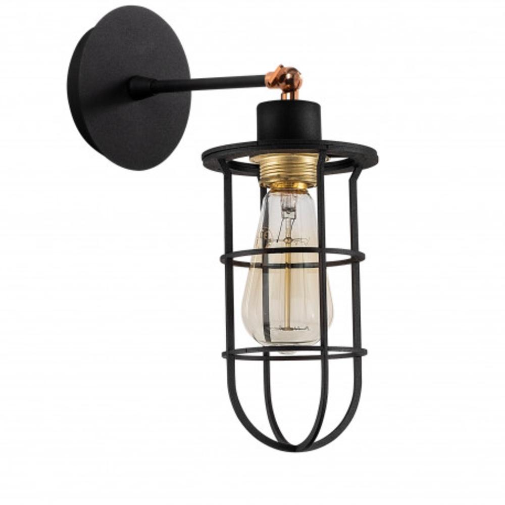 Wandlamp zwart modern 1 x een E27 fitting - zijaanzicht