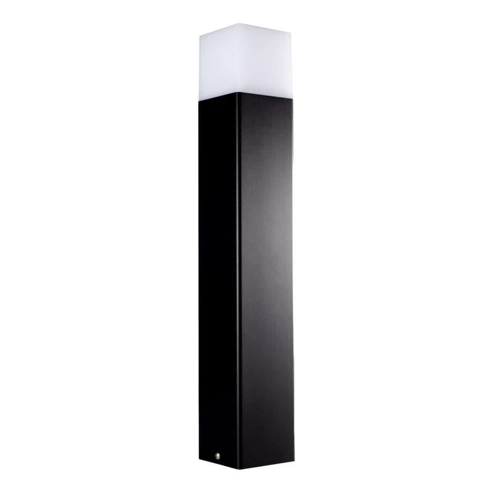 Moderne zwarte tuinpaal 50cm E27 fitting Oasis - vierkant - dimbaar - schuinaanzicht