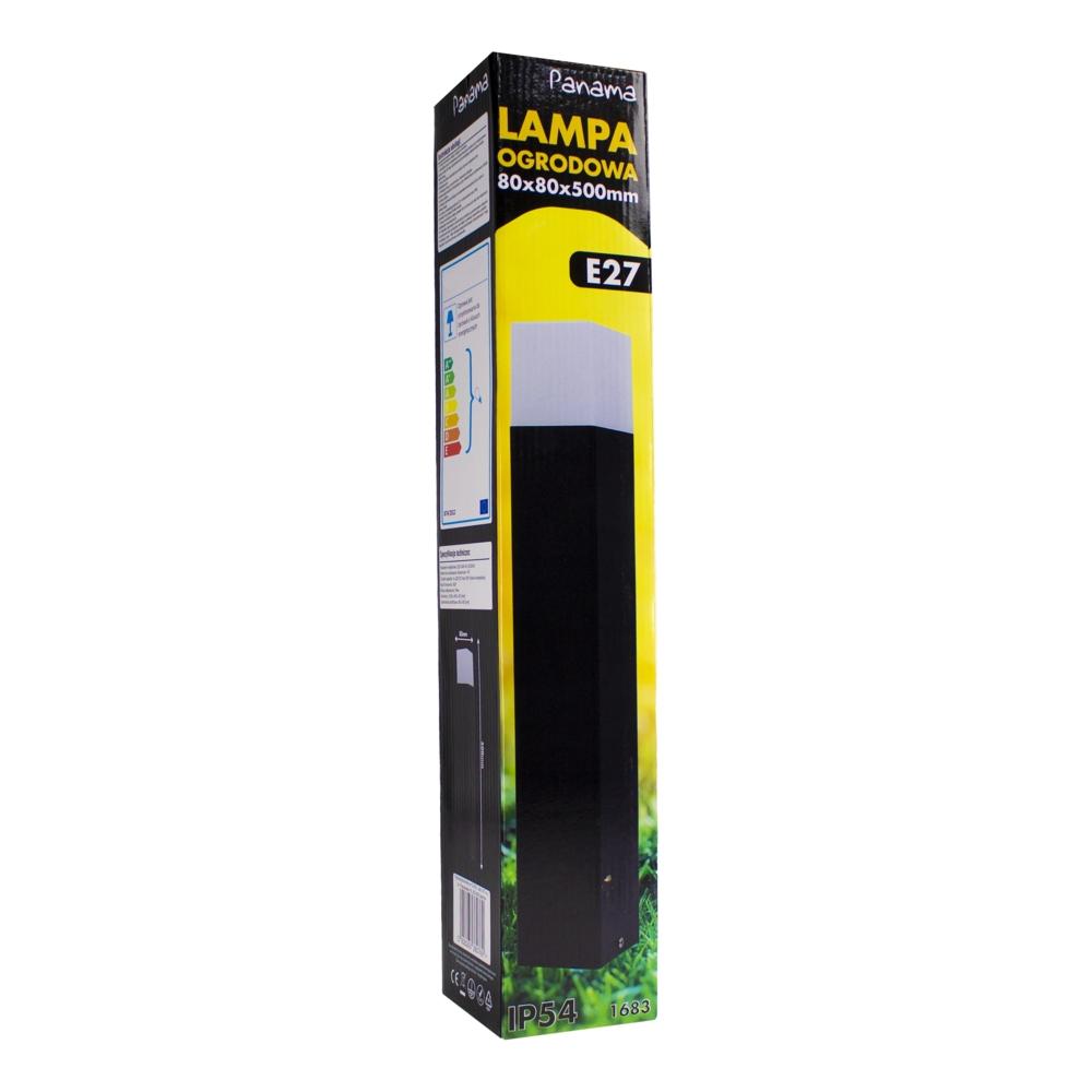 Moderne zwarte tuinpaal 50cm E27 fitting Oasis - vierkant - dimbaar - verpakking