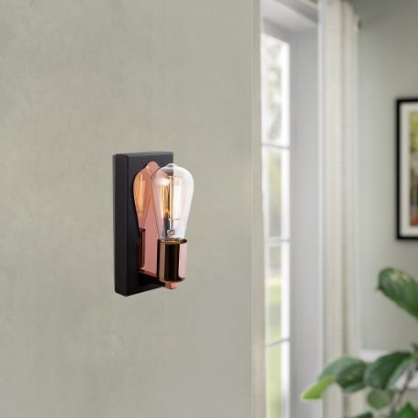 Wandlamp met spiegel brons met zwart E27 fitting - sfeerfoto
