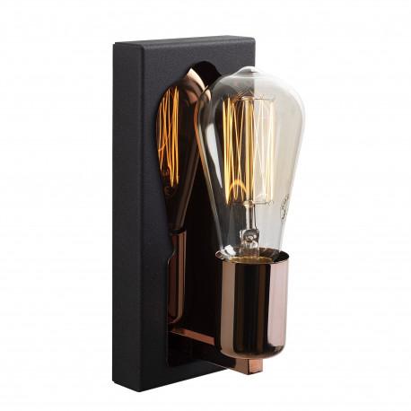Wandlamp met spiegel brons met zwart E27 fitting
