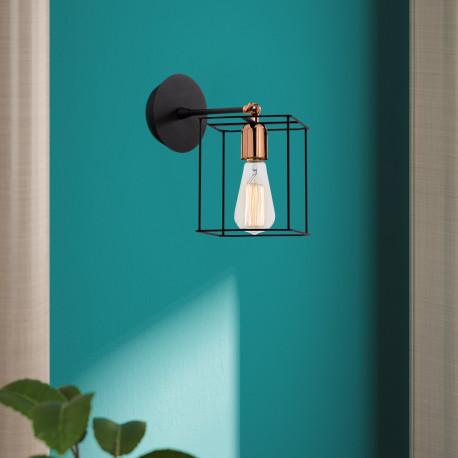 Wandlamp vierkant met E27 fitting zwart - sfeerfoto