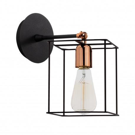 Wandlamp vierkant met E27 fitting zwart