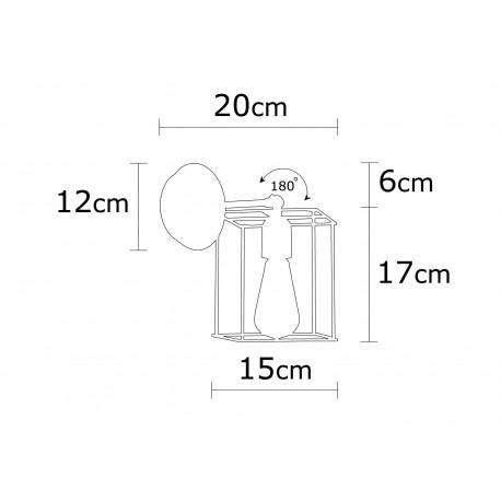 Wandlamp vierkant met E27 fitting zwart - afmetingen
