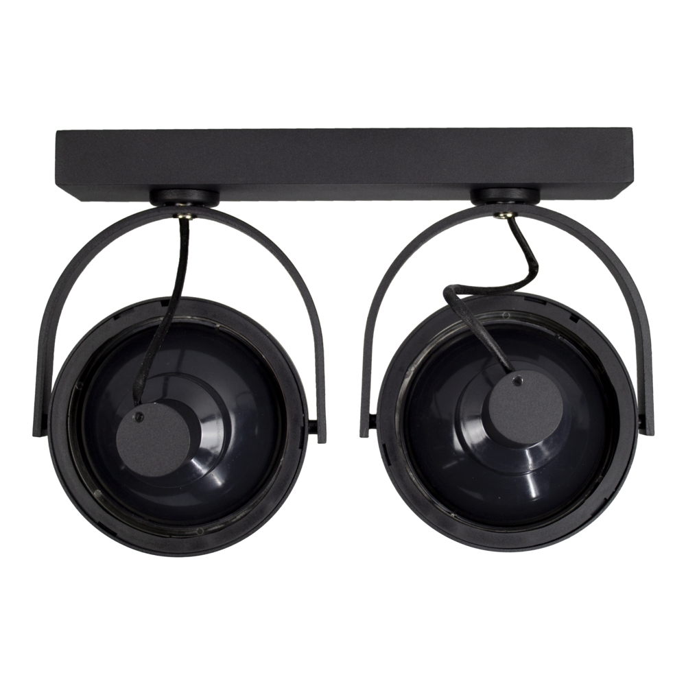 Opbouw AR111 spot armatuur - dubbel - zwart - kantelbaar - dimbaar - GU10 fitting - achteraanzicht