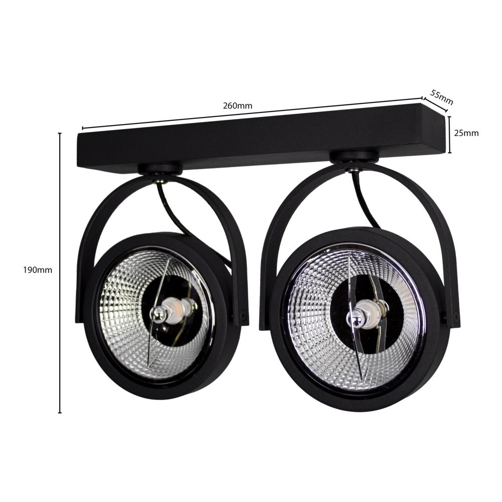 Opbouw AR111 spot armatuur - dubbel - zwart - kantelbaar - dimbaar - GU10 fitting - afmetingen