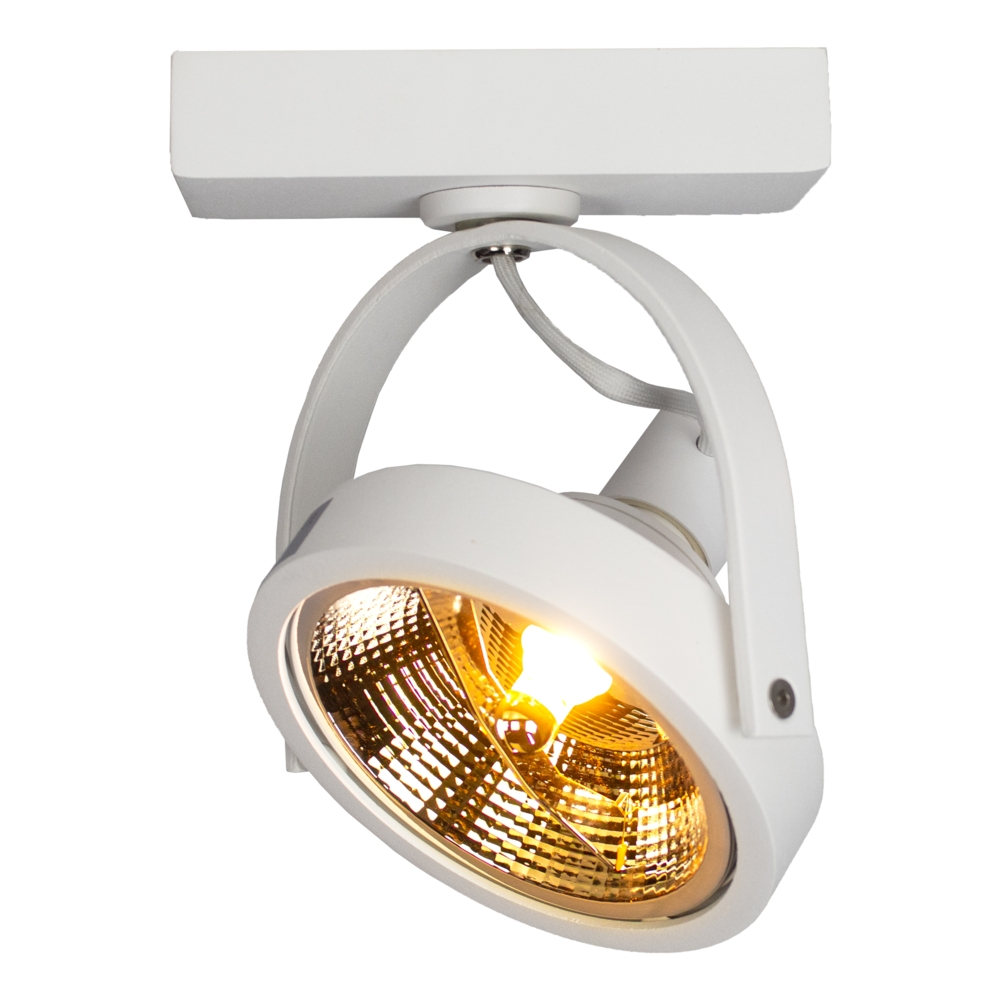 Opbouw AR111 spot armatuur - enkel - WIT - kantelbaar - dimbaar - GU10 fitting - warm wit