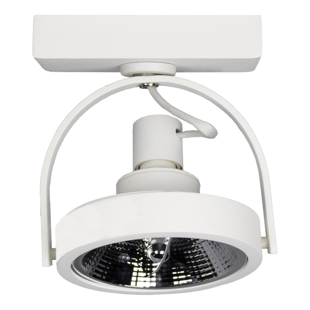Opbouw AR111 spot armatuur - enkel - WIT - kantelbaar - dimbaar - GU10 fitting - zijaanzicht