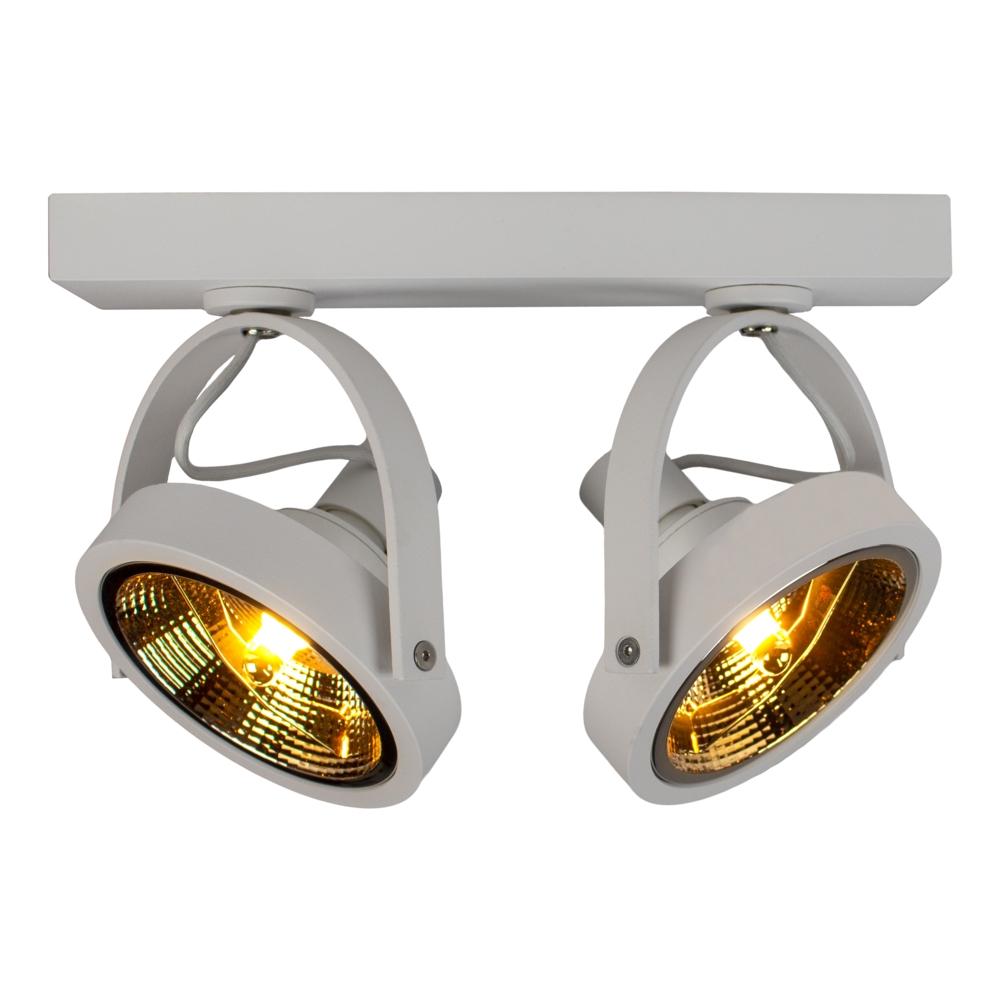 Opbouw AR111 spot - dubbel - 2x GU10 fitting - dimbaar - kantelbaar - WIT - warm wit