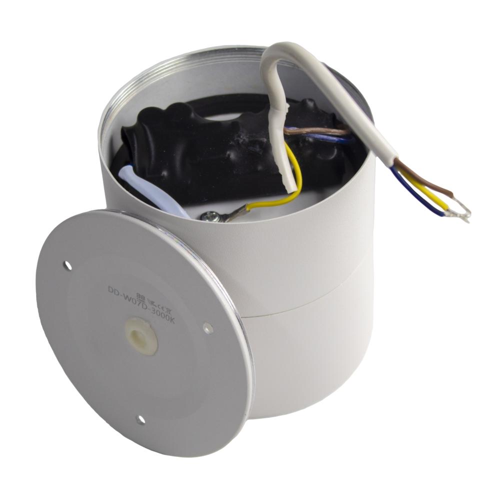 Opbouw LED plafondspot - rond - WIT - dimbaar - kantelbaar - cilinder - 3000K warm wit - achterkant