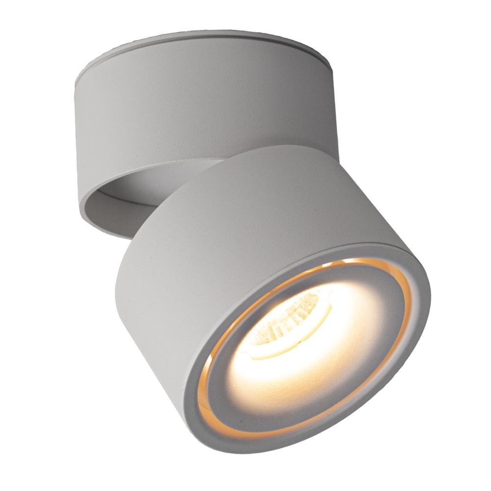 Opbouw LED plafondspot - rond - WIT - dimbaar - kantelbaar - cilinder - 3000K warm wit - vooraanzicht