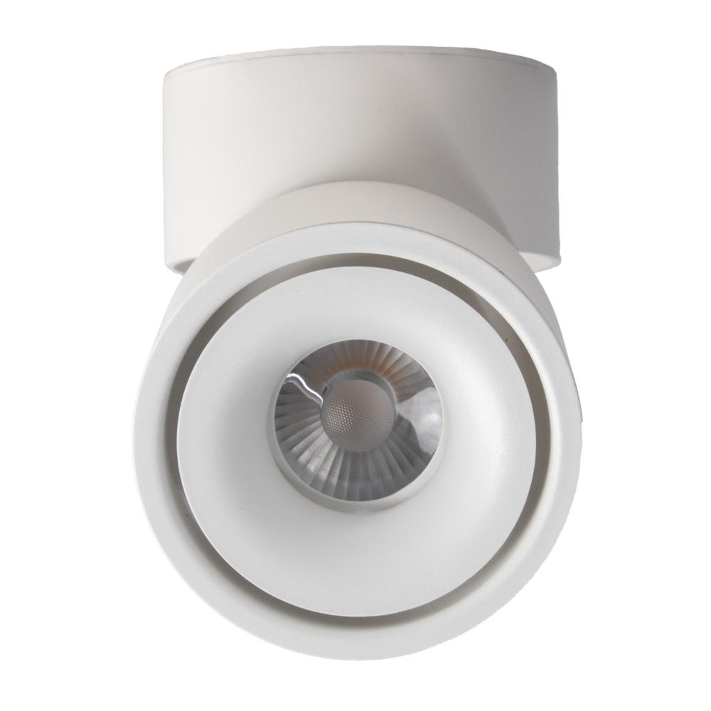 Opbouw LED plafondspot - rond - WIT - dimbaar - kantelbaar - cilinder - 3000K warm wit - voorkant
