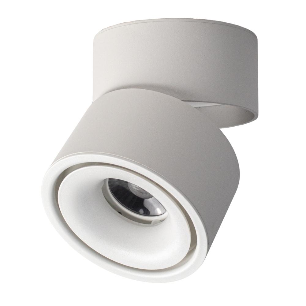 Opbouw LED plafondspot - rond - WIT - dimbaar - kantelbaar - cilinder - 3000K warm wit - zijkant