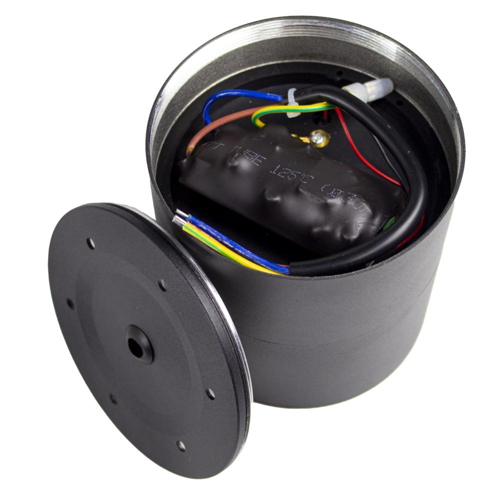 Opbouw LED plafondspot - rond - zwart - dimbaar - kantelbaar - cilinder - 3000K warm wit - achterkant