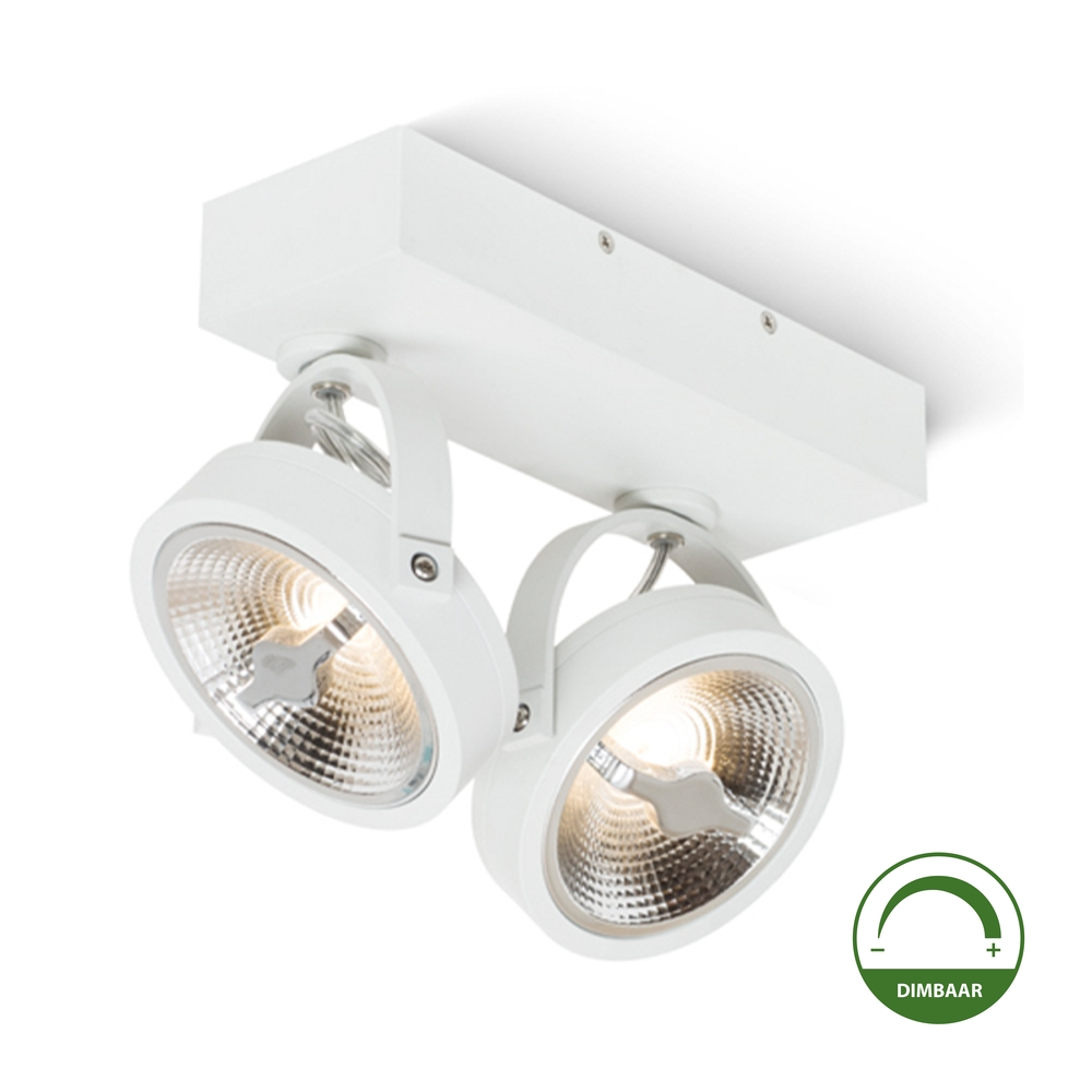 Witte Opbouw-spot--Dubbel-Dimbaar-WIT-Incl.-LED-lampen-kantelbaar