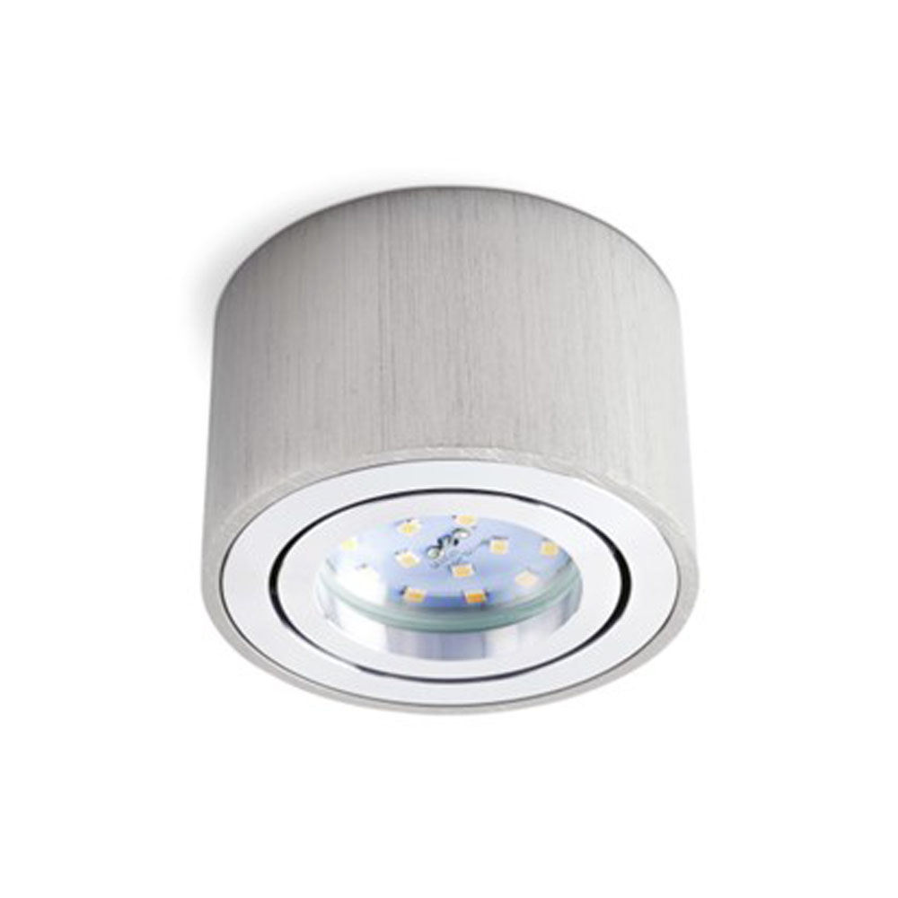 LED opbouw spot rond zilver voor LED module - voorkant led armatuur