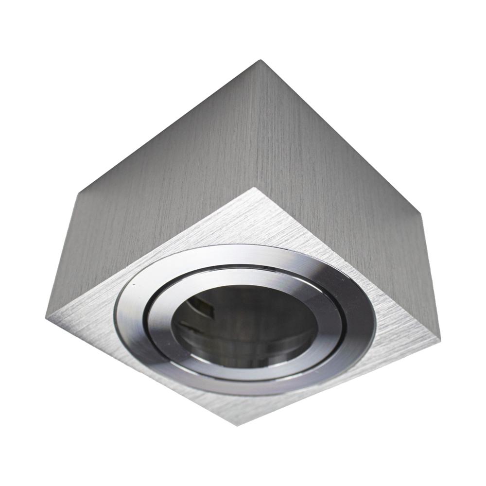 Opbouw armatuur LED 220 Volt chroom vierkant - vooraanzicht zonder spot