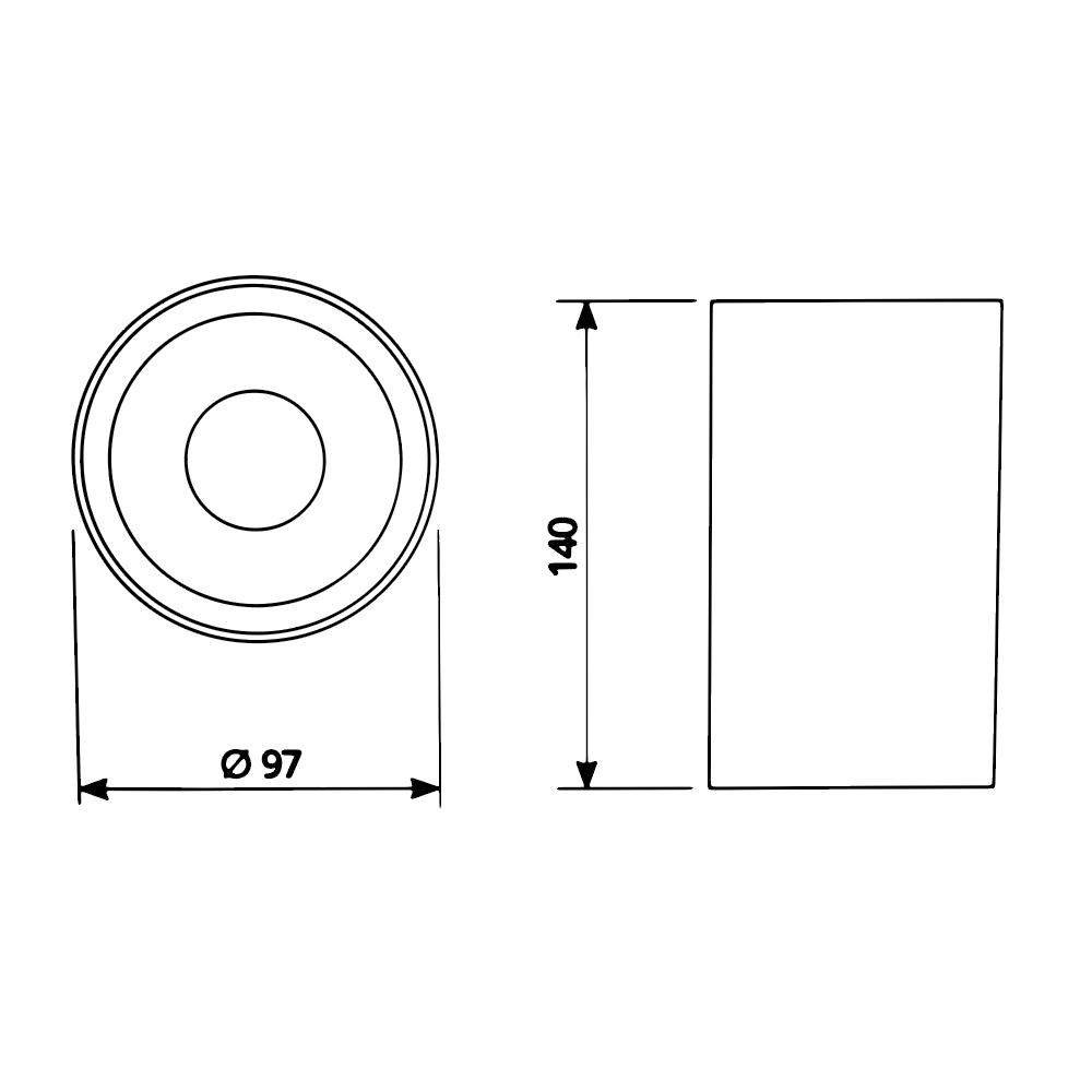 Opbouw spot armatuur 140 x 97 gu10 fitting - zwart - afmetingen