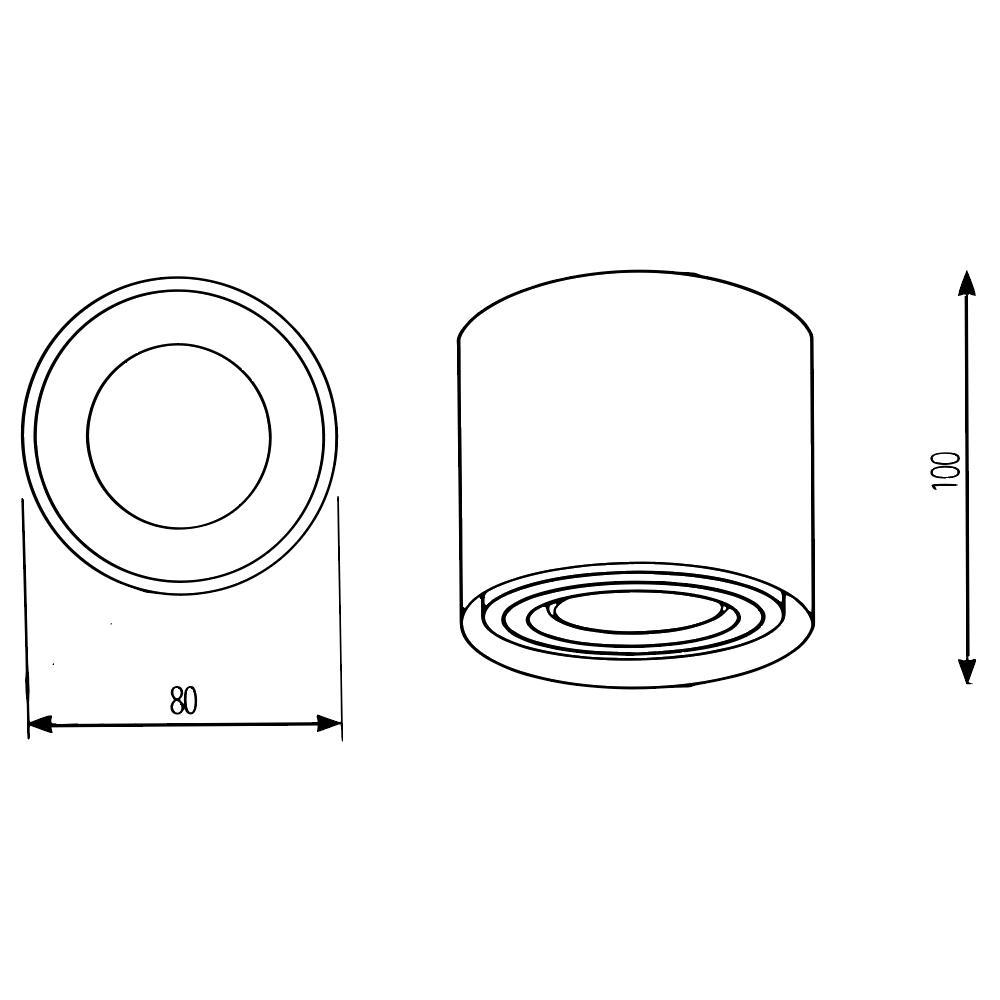 LED opbouw spot inclusief 3 ringen - gu10 fitting - mat zwart - afmetingen