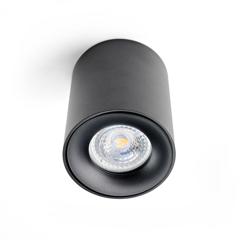 LED opbouw spot inclusief 3 ringen - gu10 fitting - mat zwart - armatuur