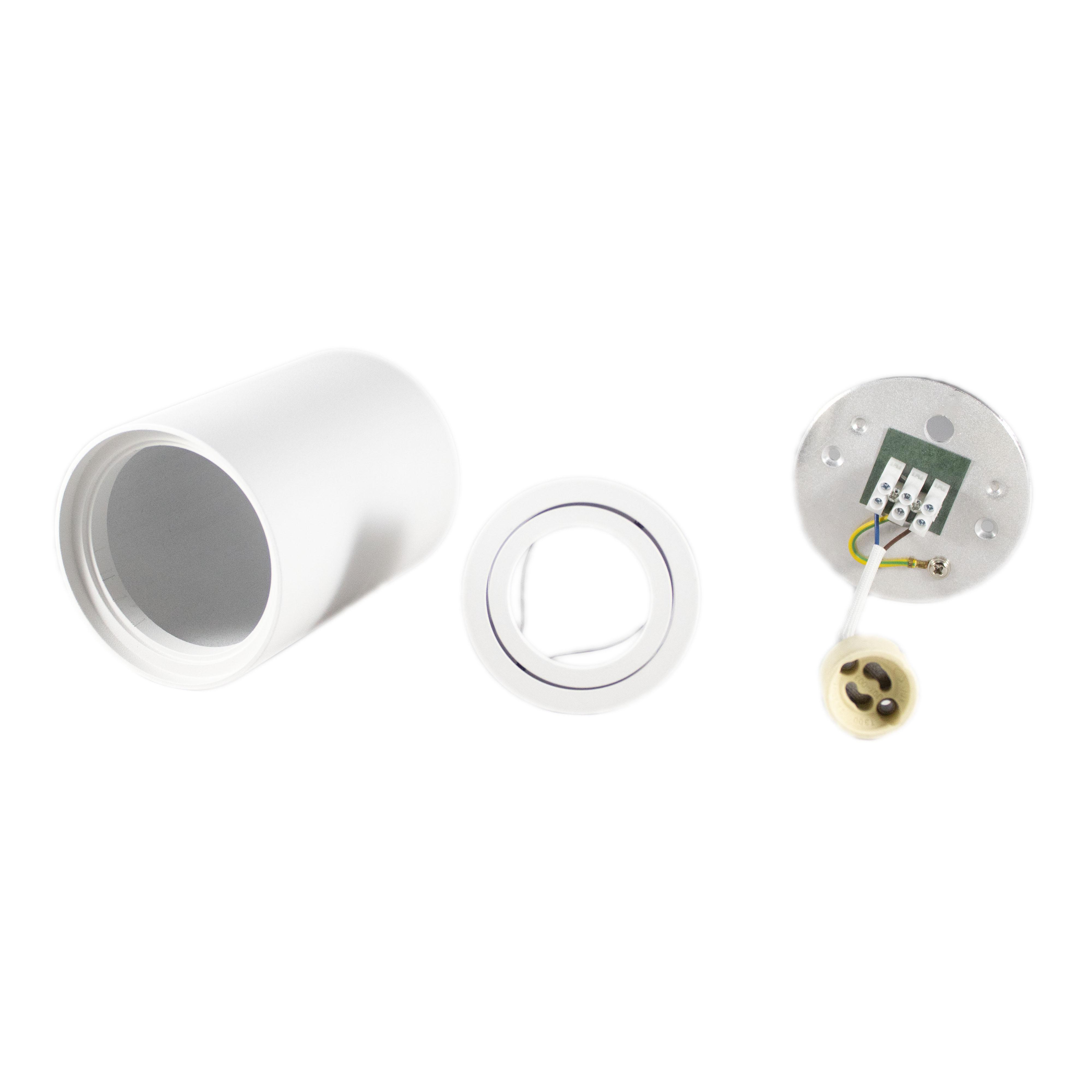 Opbouw spot armatuur wit rond kantelbaar GU10 fitting - onderdelen