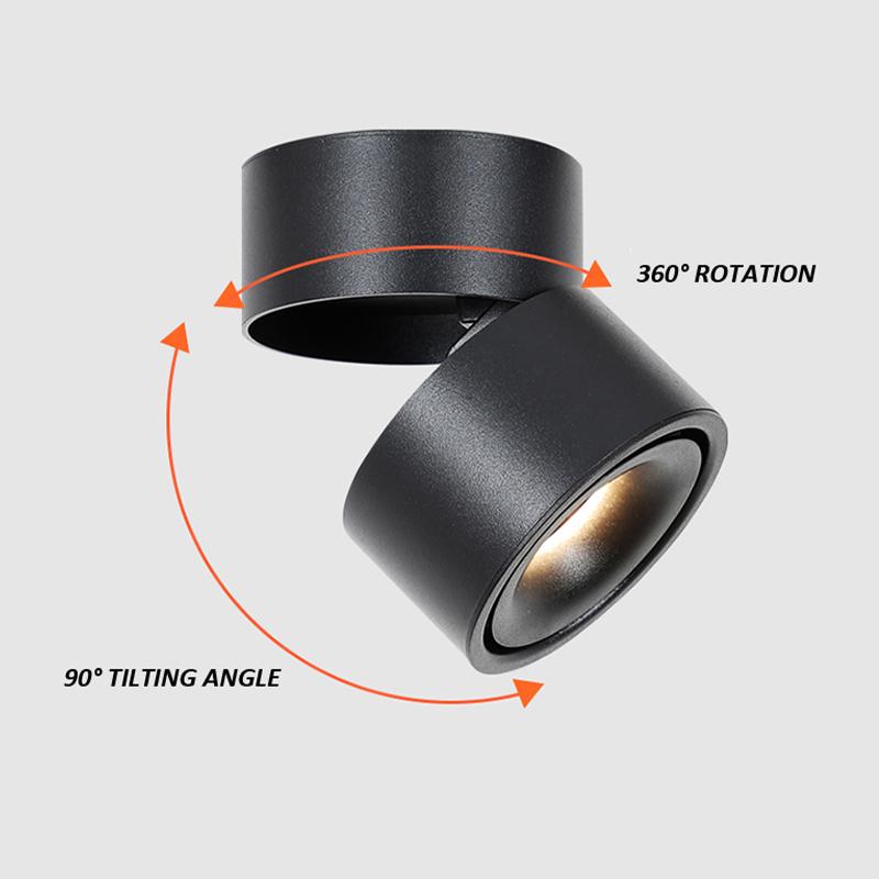 LED opbouw spot rond - zwart - dimbaar - kantelbaar - draaibaar - 7W - 15W - warm wit