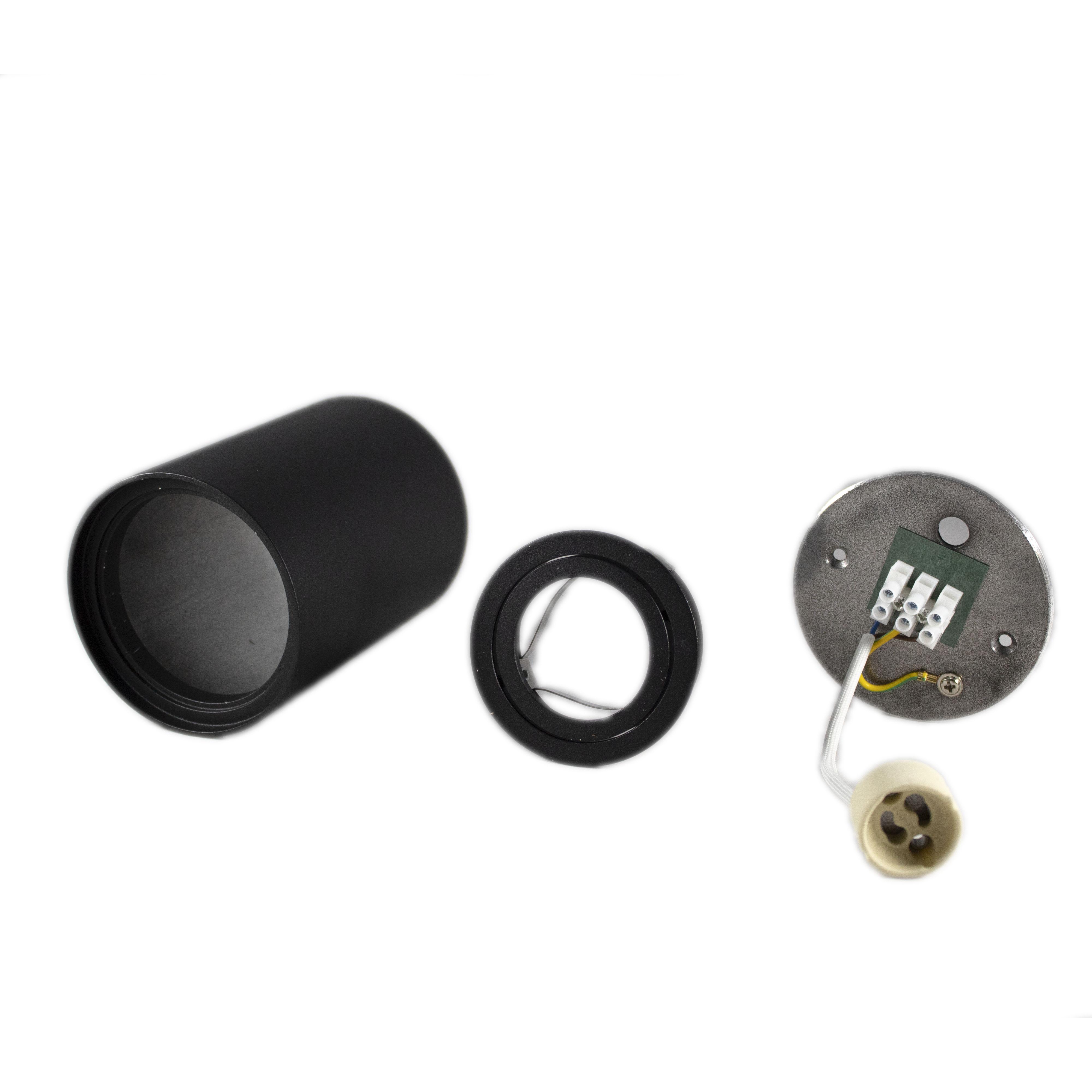 Opbouw spot armatuur zwart rond kantelbaar GU10 fitting - onderdelen armatuur