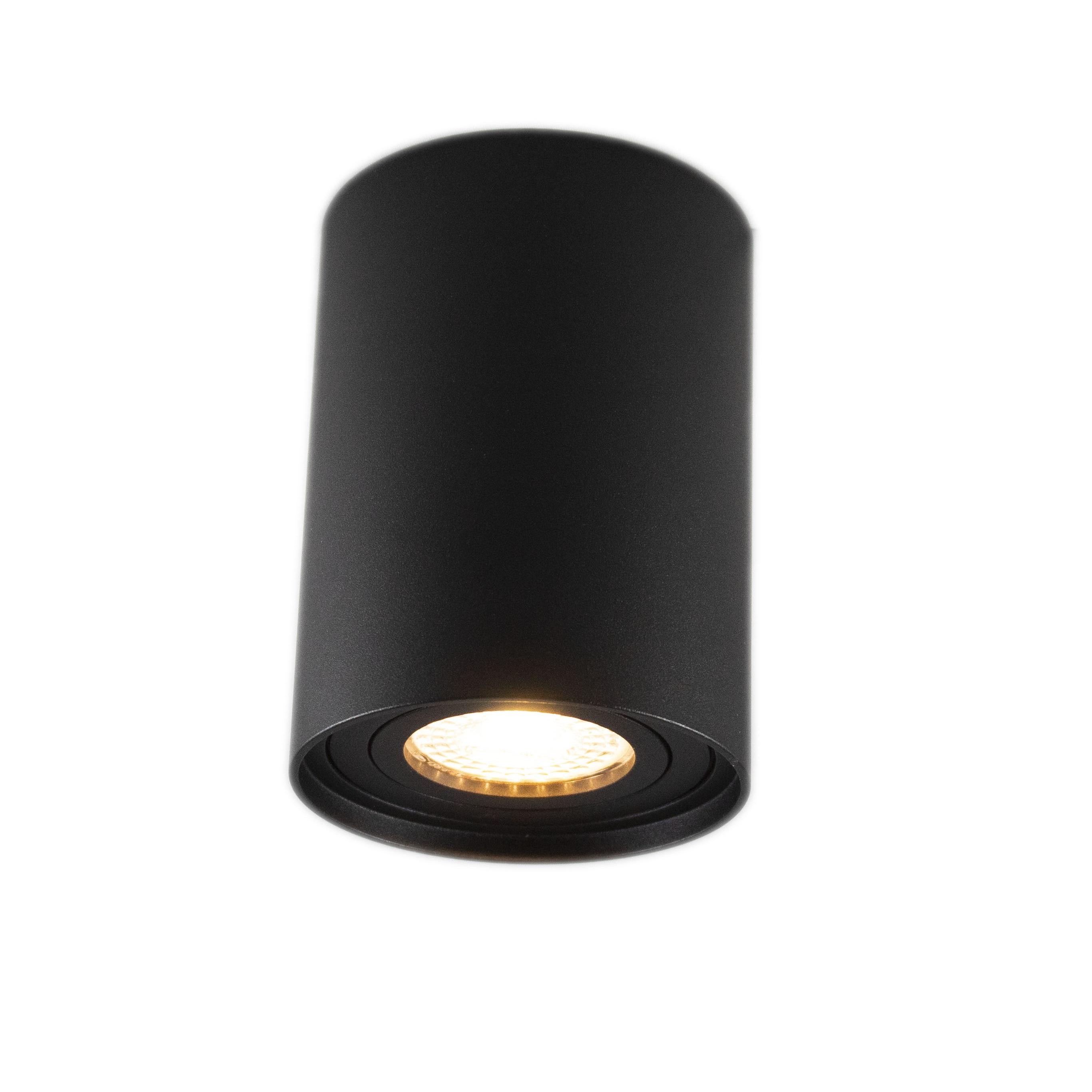 Opbouw spot armatuur zwart rond kantelbaar GU10 fitting - hangend spot aan