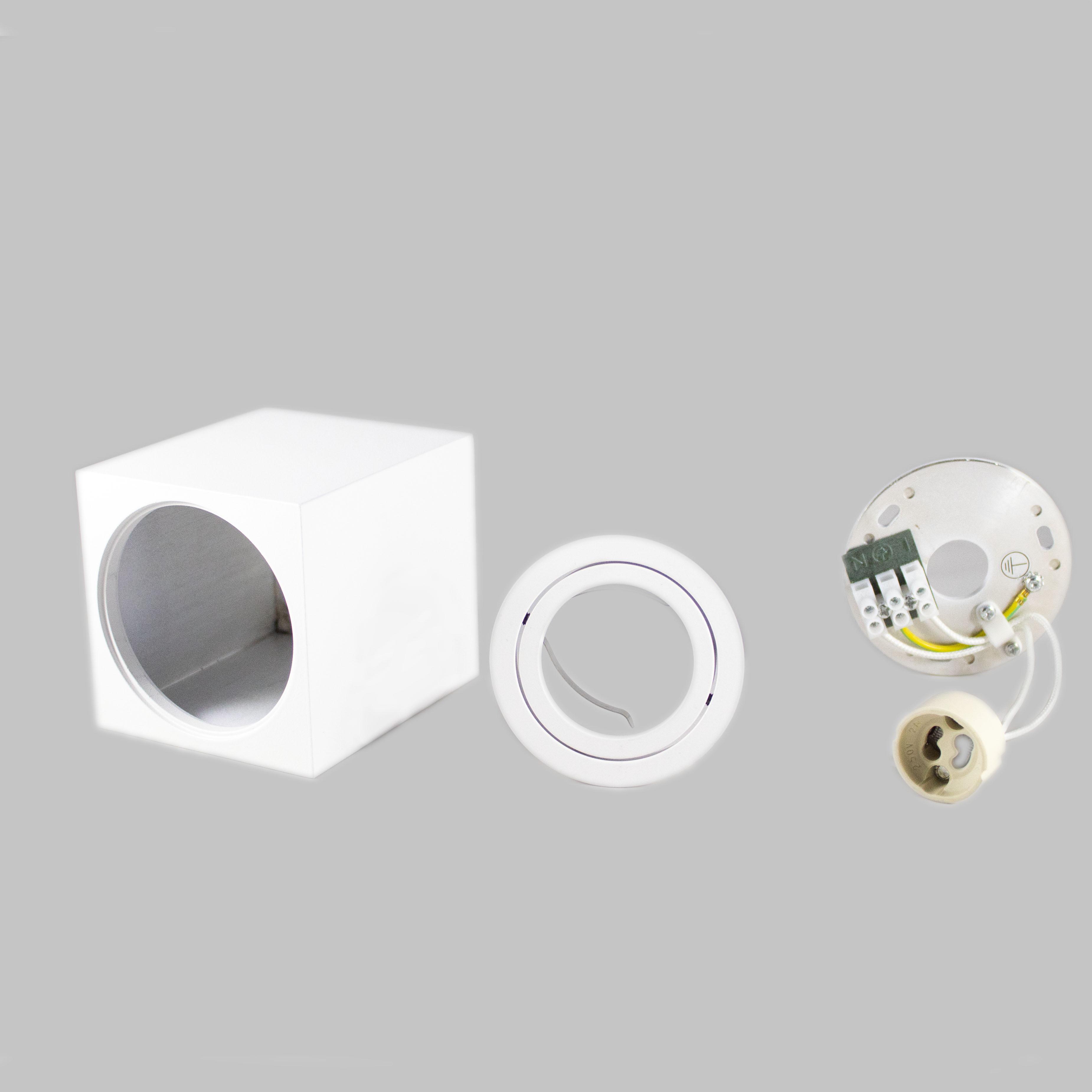 Opbouw spot armatuur wit vierkant kantelbaar GU10 fitting - onderdelen bundel