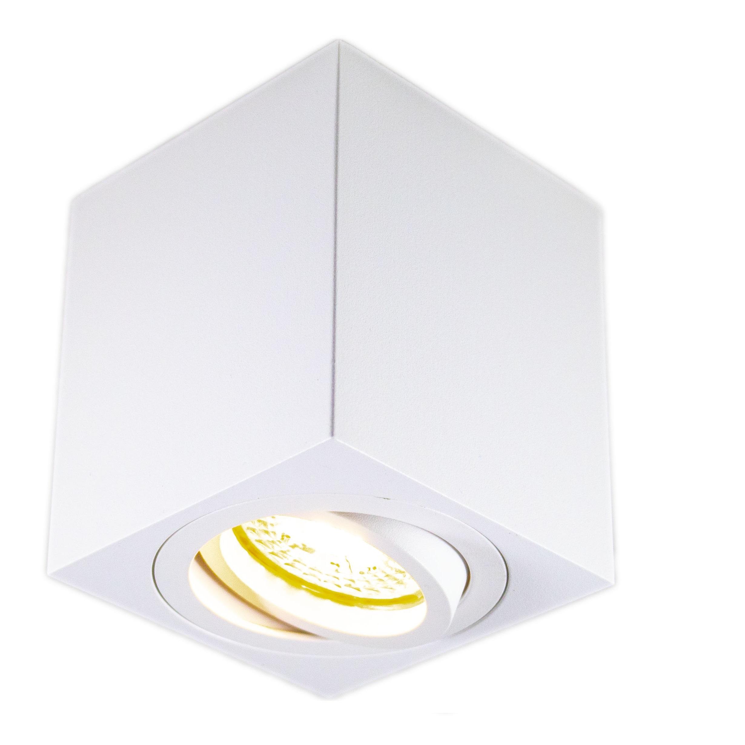 Opbouw spot armatuur wit vierkant kantelbaar GU10 fitting - spot aan gekanteld