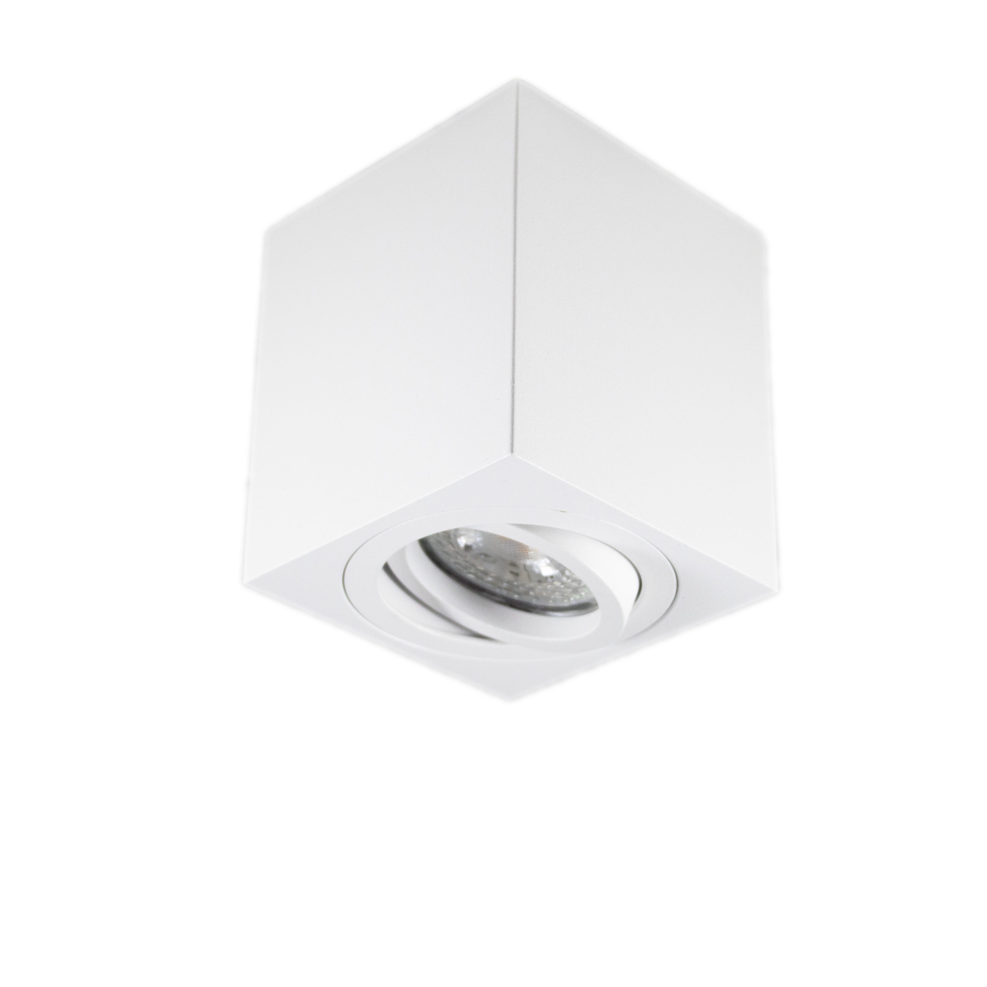 Opbouw spot armatuur wit vierkant kantelbaar GU10 fitting - spot uit gekanteld