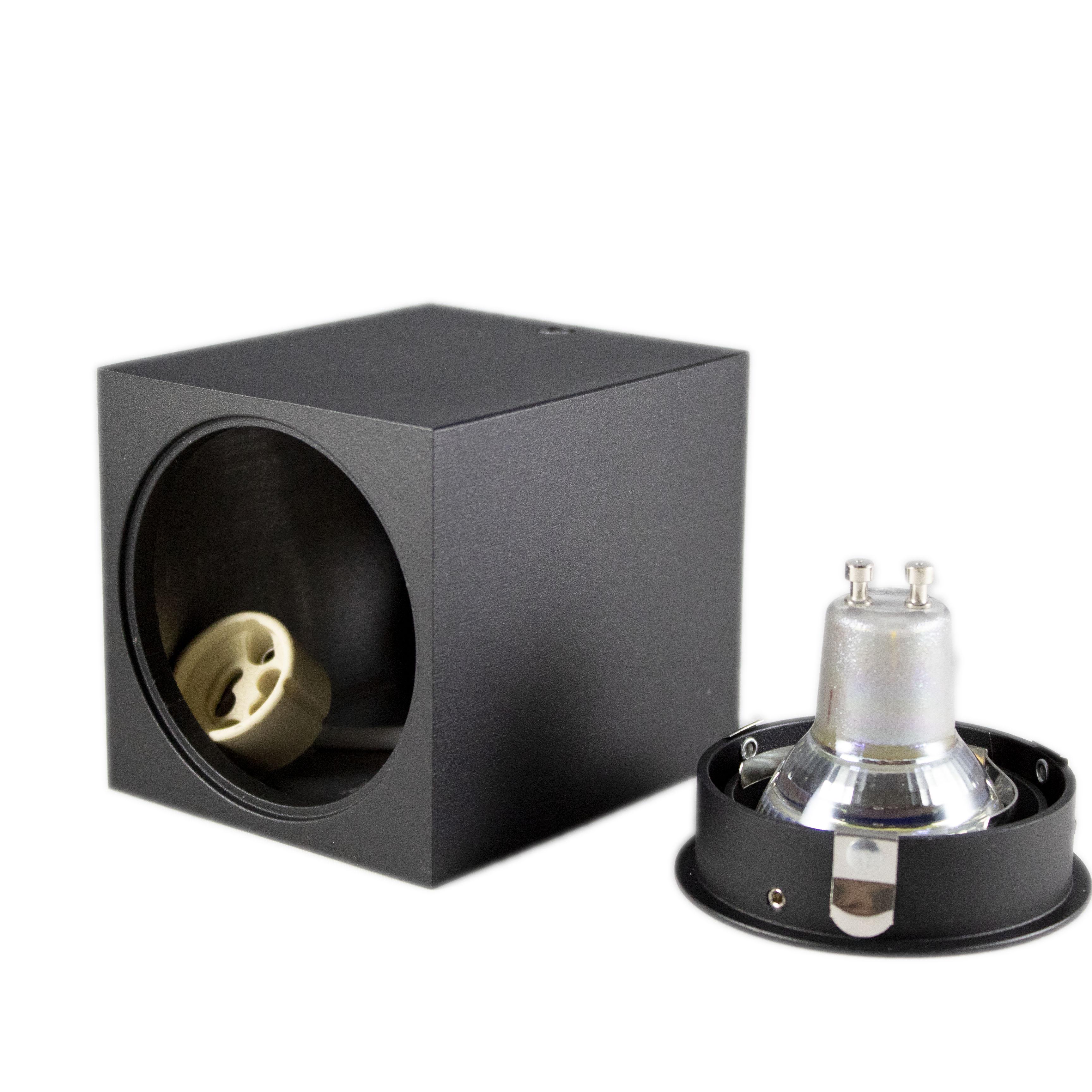 Opbouw spot armatuur zwart vierkant kantelbaar GU10 fitting - inclusief spot