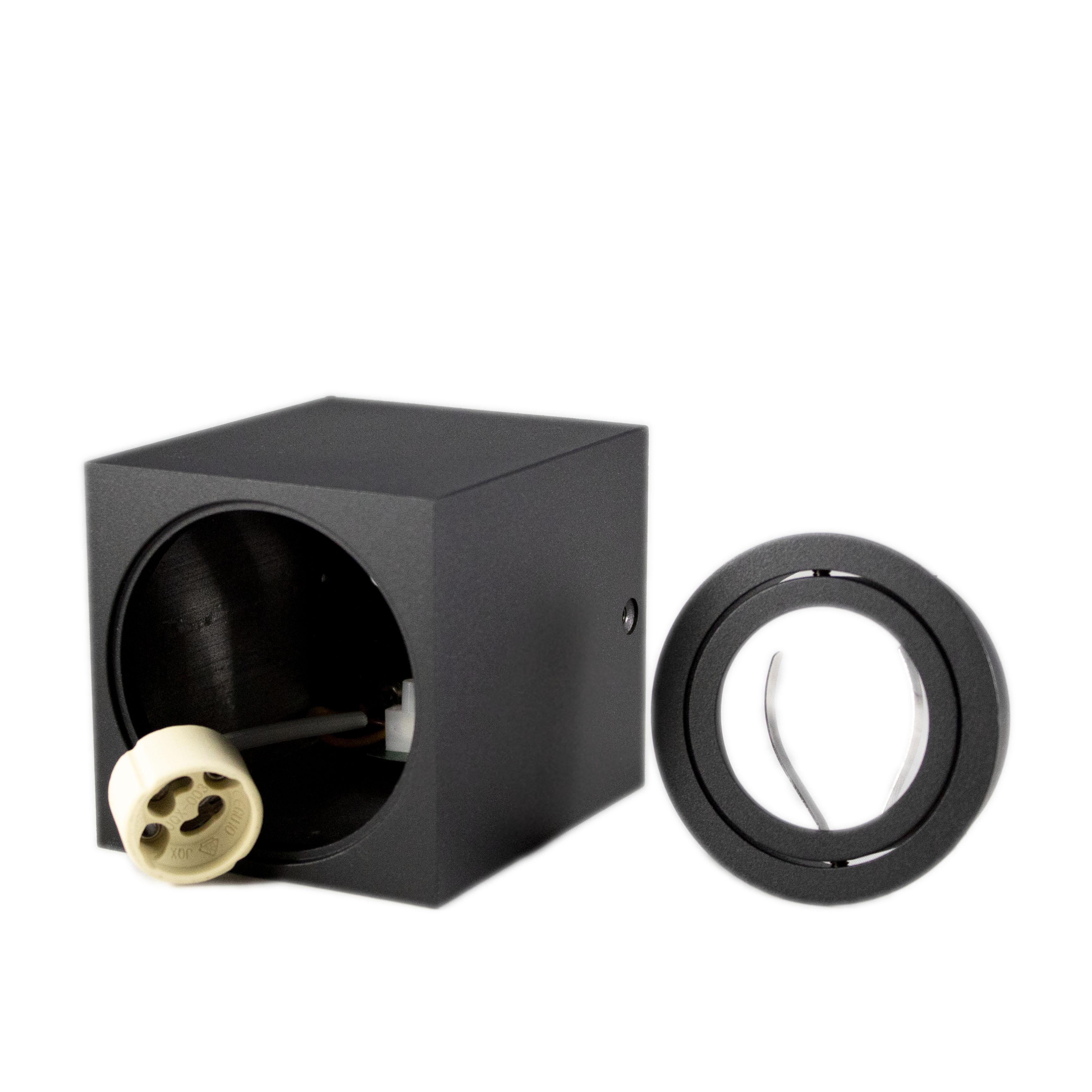 Opbouw spot armatuur zwart vierkant kantelbaar GU10 fitting - onderdelen armatuur