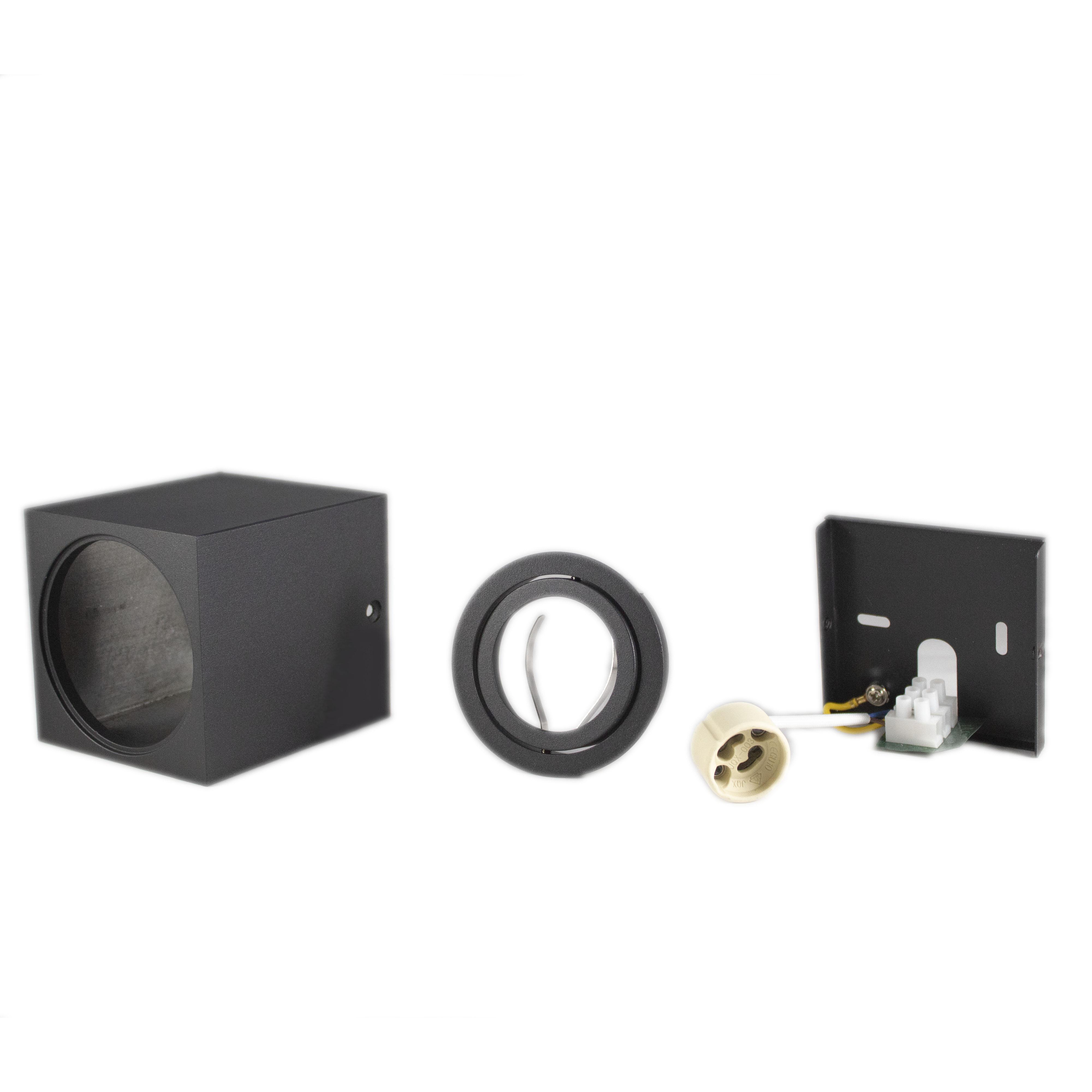Opbouw spot armatuur zwart vierkant kantelbaar GU10 fitting - onderdelen bundel