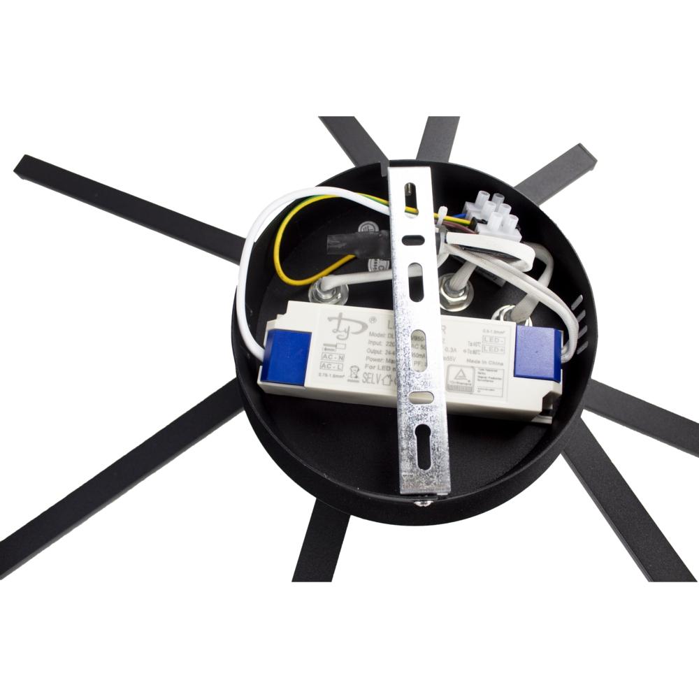 Plafondlamp modern LED - 35 watt - draaibaar - 4000K naturel wit - zwart - 4 staven - aansluiting