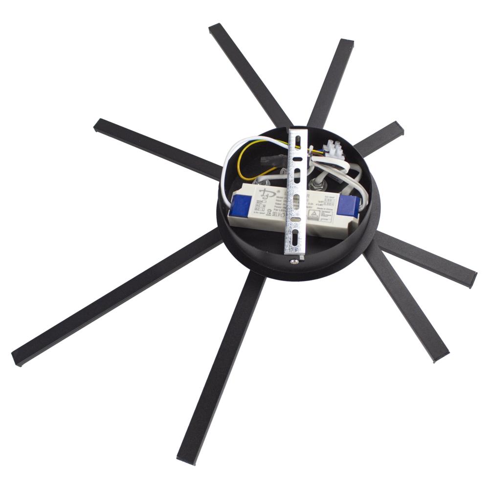 Plafondlamp modern LED - 35 watt - draaibaar - 4000K naturel wit - zwart - 4 staven - achteraanzicht