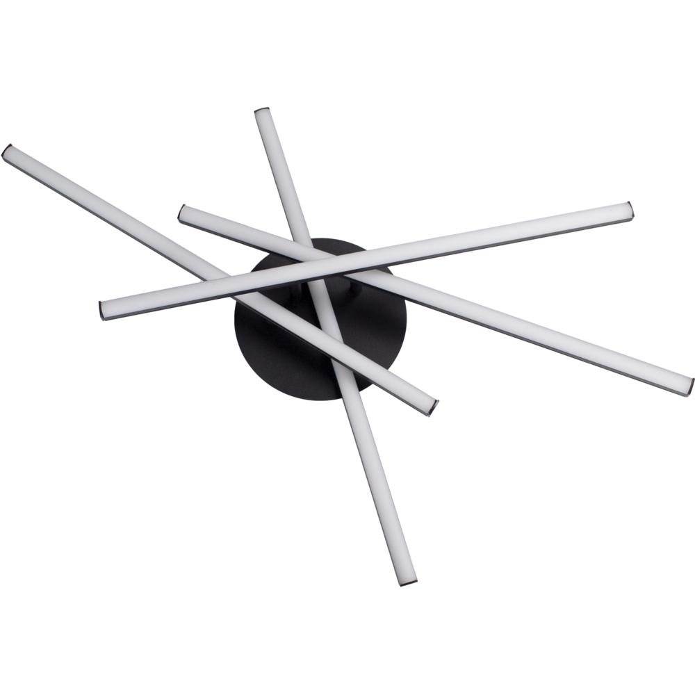 Plafondlamp modern LED - 35 watt - draaibaar - 4000K naturel wit - zwart - 4 staven - gedraaid