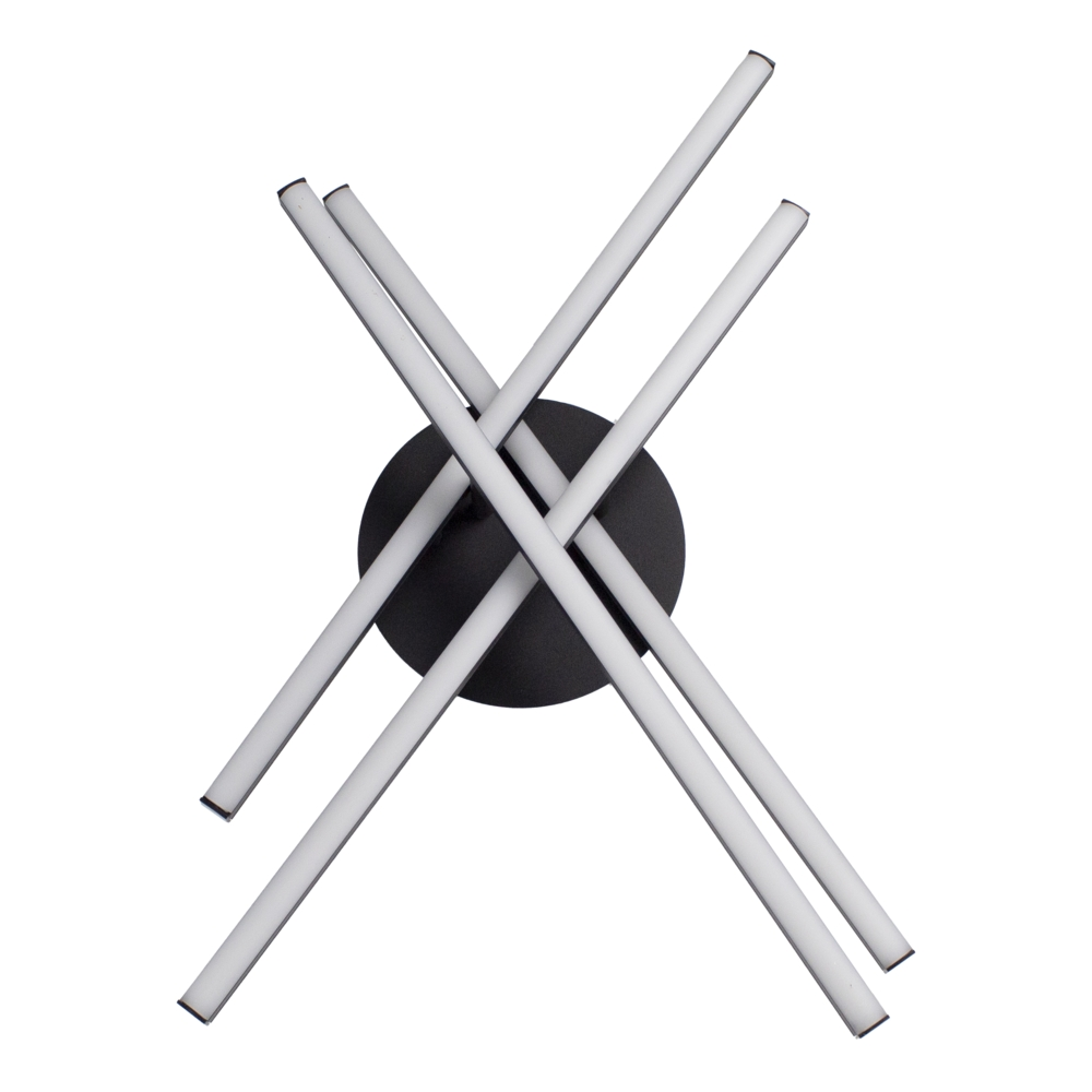 Plafondlamp modern LED - 35 watt - draaibaar - 4000K naturel wit - zwart - 4 staven - voorkant