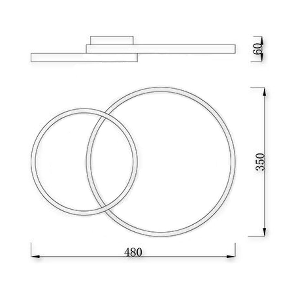 Moderne dimbare plafondlamp - 60 watt - 3000K - 4000K - 6500K CCT - Kleur instelbaar - incl. afstandsbediening - afmetingen