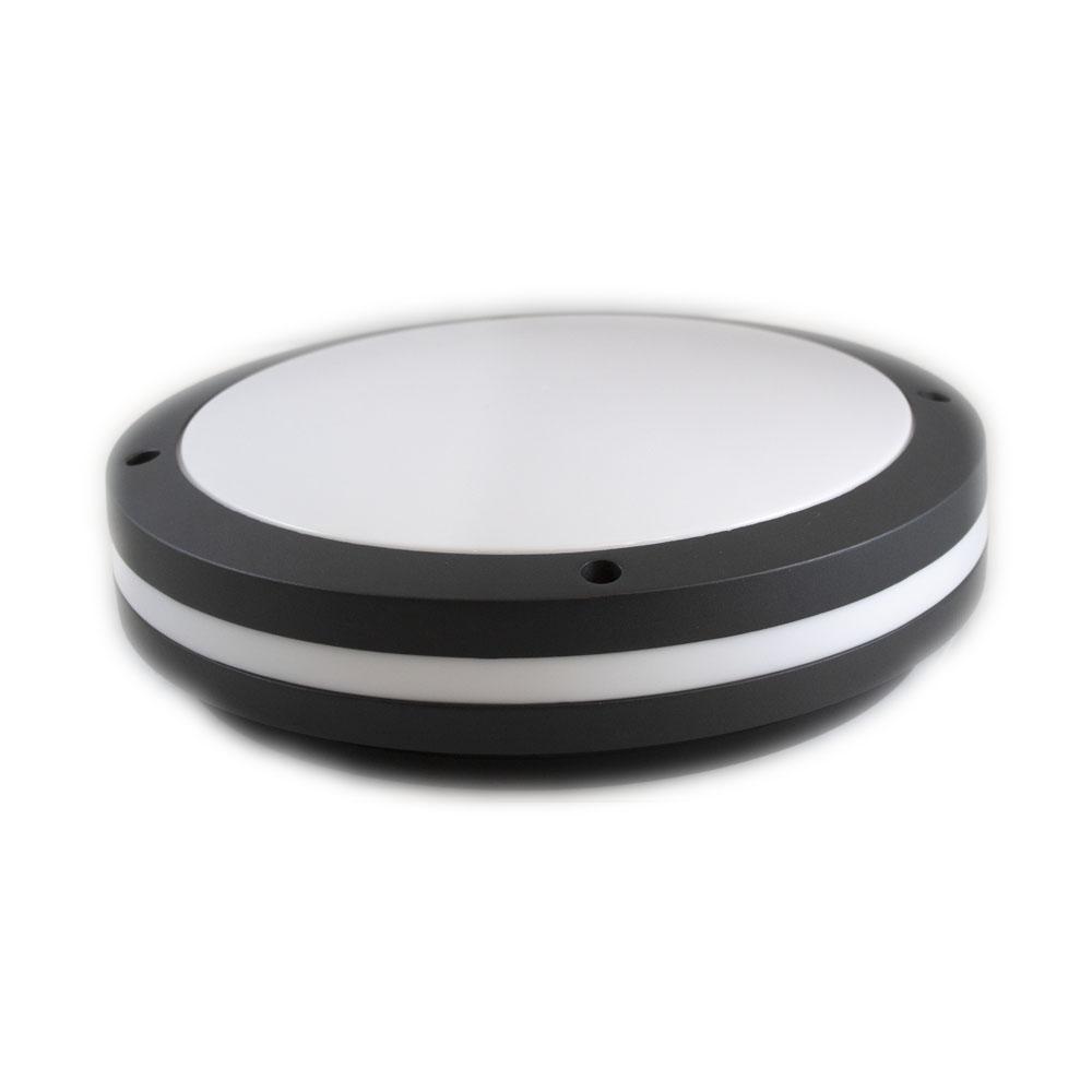 Led plafondlamp wit zwart rond 2 x E27 fitting - liggend