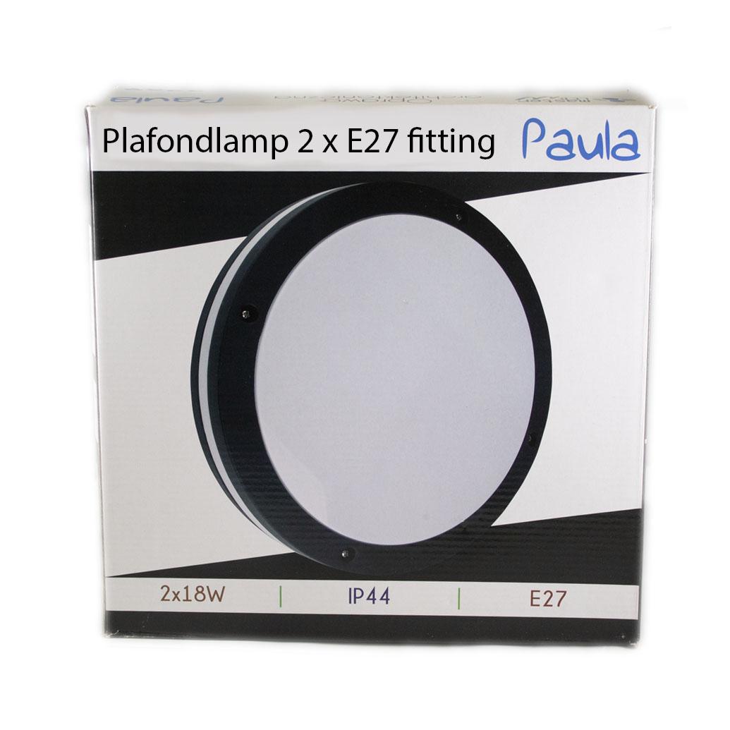 Led plafondlamp wit zwart rond 2 x E27 fitting - verpakking