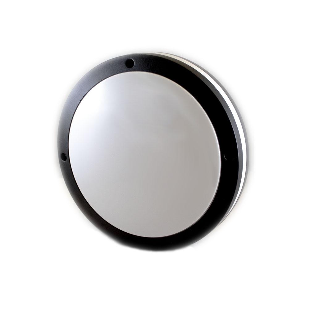 Led plafondlamp wit zwart rond 2 x E27 fitting - vooraanzicht