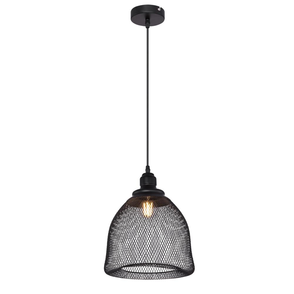 LED hanglamp mesh metaal e27 fitting - vooraanzicht lamp aan