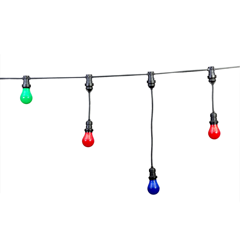 Prikkabel zelf samenstellen 10 meter zonder fittingen - voorbeeld met gekleurde lampen