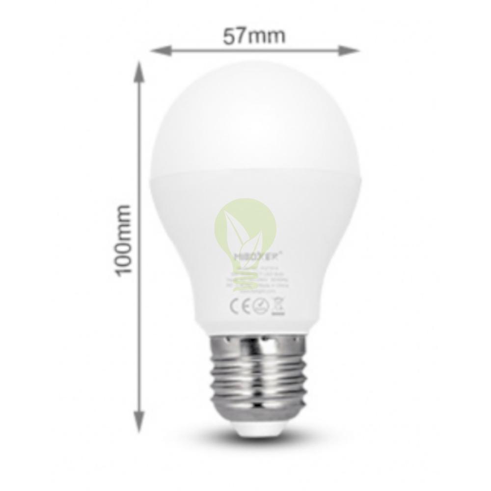 LED Lamp RGB en CCT grote fitting E27 dimbaar 6 Watt 550 lumen - afmetingen